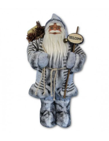 Дядо Коледа със сиво палто - 30 см