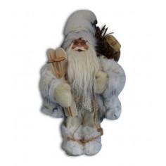 Дядо Коледа с бяло палто и ски - 30 см