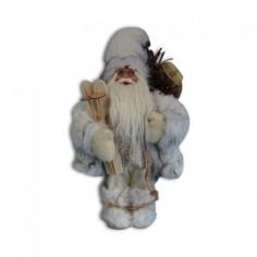 Дядо Коледа с бяло палто и ски - 46 см