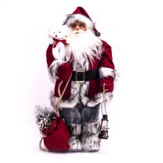 Дядо Коледа с червен кожух и чувал - 30 см