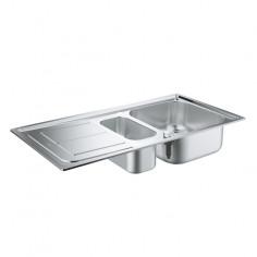 Кухненска мивка K300, 970х500 мм, неръждаема стомана, 1,5 корита