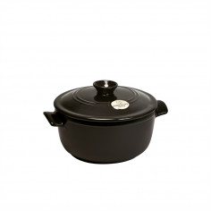 "Керамична тенджера с капак ""ROUND STEWPOT"" -  2,5 л - Ø 22,5 см - цвят черен - EMILE HENRY"