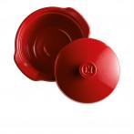 """Керамична дълбока тенджера с капак """"ONE POT"""" -  2 л - Ø 22,5 см - цвят червен - EMILE HENRY"""