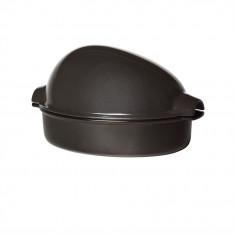 "Керамична форма за печене на пиле ""CHICKEN ROASTER""  - 2,5 л / 35,5 х 24см - цвят черен - EMILE HENRY"