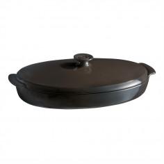 """Керамична овална тава за печене """"PAPILLOTE""""  - 1,9 л / 42 х 25см - цвят черен - EMILE HENRY"""