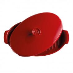 """Керамична овална тава за печене """"PAPILLOTE""""  - 1,9 л / 42 х 25см - цвят червен - EMILE HENRY"""