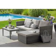 Imagén: Градински комплект - 3 части, маса, кресло, удължено кресло