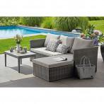 Градински комплект - 3 части, маса, кресло, удължено кресло