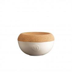 "Imagén: Керамичен канистер за сол с капак ""SALT CELLAR"" - Ø 14,5 см - цвят екрю - EMILE HENRY"