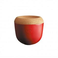 """Керамичен канистер за чесън с капак """"GARLIC POT"""" - Ø 14,5 см - цвят червен - EMILE HENRY"""