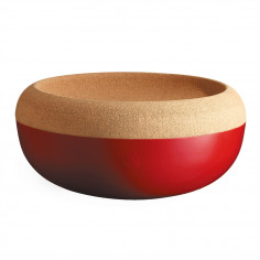 """Керамична купа / фруктиера с корков капак """"LARGE STORAGE BOWL"""" - Ø 36 см - цвят червен - EMILE HENRY"""