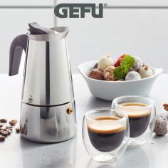 """Комплект стоманена кафеварка за( 4 бр кафета)""""EMILIO"""" и 2 бр двустенни чаши за еспресо - GEFU"""