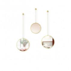 """Комплект от 3 бр огледала за стена """"DIMA ROUND"""" - 3 бр. - цвят месинг - UMBRA"""