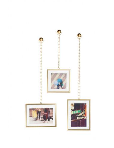 """Комплект от 3бр. висящи рамки за снимки """"FOTOCHAIN"""" - цвят месинг мат - UMBRA"""