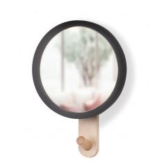 """Огледало за стена със закачалка """"HUB"""" - цвят черен / натурално дърво - UMBRA"""