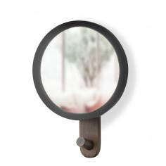 """Огледало за стена със закачалка """"HUB"""" - цвят черен / орех - UMBRA"""