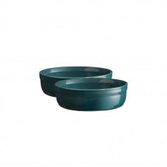 """Комплект 2 броя керамични купички за крем брюле """"2 CRÈME BRÛLÉES RAMEKINS SET""""-  цвят синьо-зелен - EMILE HENRY"""