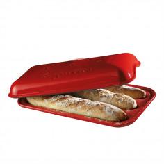"""Керамична форма за печене на багета """"BAGUETTE BAKER"""" - 39,5 х 23 см - цвят червен - EMILE HENRY"""