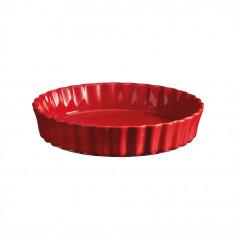 """Керамична дълбока форма за тарт """"DEEP FLAN DISH"""" - Ø 28 см - цвят червен - EMILE HENRY"""