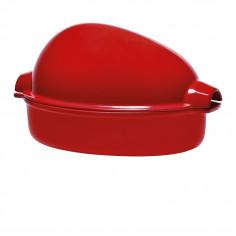 """Керамична форма за печене на пиле """"LARGE ROASTER"""" - 4 л / 42 х 28см - цвят червен - EMILE HENRY"""