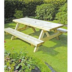 Градински дървен комплект - маса с две пейки
