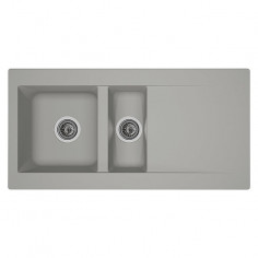 Imagén: Кухненска мивка за вграждане Respekta Denver - Полимерен материал Mineralite, 1 ½ корита, 100х50 см, бетоненосива
