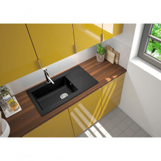 Imagén: Кухненска мивка за вграждане Respekta Denver - Полимерен материал Mineralite, 86х50 см, черна