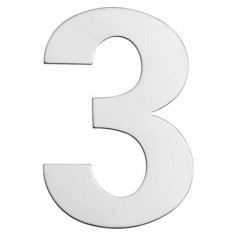 Номер за входна врата Portaferm 3, неръждаема стомана, 15 см