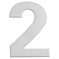 Номер за входна врата Portaferm 2, неръждаема стомана, 15 см