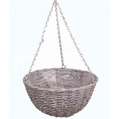 Плетена висяща кошница - ØxВ: 35х17 см, бяло-сива