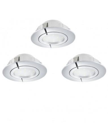 LED луни, Ø84 мм, GU10, димируеми, 6 W, хром, 3 броя