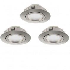 LED луни, подвижни, Ø84 мм, никел мат, 6 W, 3 броя