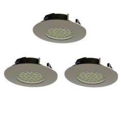 LED луни, Ø78 мм, IP44, 6 W, никел мат, 3 броя