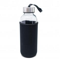 Стъклена бутилка с неопренов протектор - 400 мл. - цвят черен - Vin Bouquet