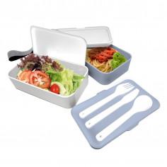 Комплект херметически кутии за храна с прибори - 2 х 500 мл. - цвят син/бял - Vin Bouquet