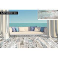 Imagén: Гранитогрес Elite Wood Mix - 15x60 см, бежoво-кафяв, мат