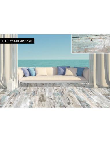 Гранитогрес Elite Wood Mix - 15x60 см, бежoво-кафяв, мат