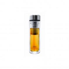 Двустенна стъклена бутилка с инфузер и неопренов протектор - 350 мл. - Vin Bouquet