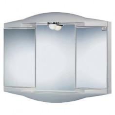 Огледален шкаф с осветление - 62х52,6 см, с контакт, PVC, сребрист