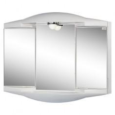Огледален шкаф с осветление - 62х52,6 см, с контакт, PVC, бял