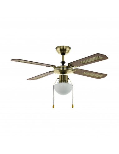 Таванен вентилатор с осветление -  E27, Ø130 бронз/дърво 'TIGGANO'