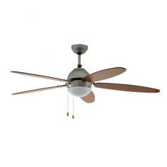 Imagén: Таванен вентилатор - E14 AC Ø153 никел мат/кафяво/бяло