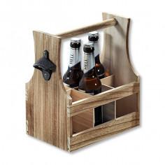 Дървена поставка за 6 бирени бутилки с отварачка, KESPER Германия