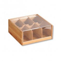 Imagén: Бамбукова кутия за чай с акрилен капак, 6 отделения, KESPER Германия