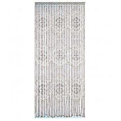 Декоративна завеса за врата с ресни Menam - 90х200 см, бежово-кафява, с бамбукови пръчици