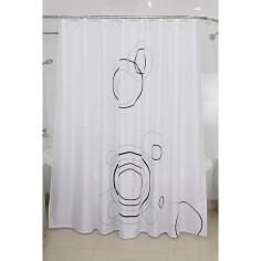 Завеса за баня Rings - 240х200 см, бяла, текстилна