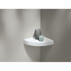 Ъглов рафт със скрито окачване Big Boy Corner - 30х30х5 см, HDF, бял мат
