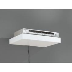 Рафт със скрито окачване Big Boy Mediaboard - 44,5х30х5 см, HDF, бял мат