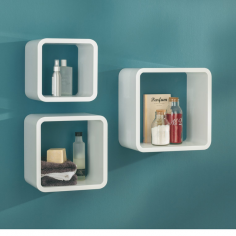 Рафт Cube - 3 броя, MDF, бял