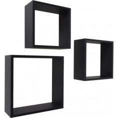 Imagén: Етажерки Frame - 3 броя, MDF, черни